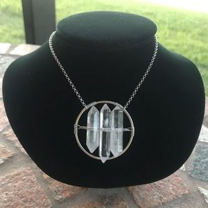 Silverskylight Jewelry - Genuine 3 Double point crystal quartz necklace